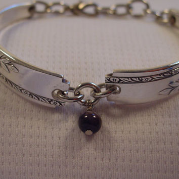 A Pretty Spoon Bracelet Grenoble Pattern With Grayish Bead Antique Spoon and Fork Jewelry b161
