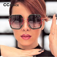CCSPACE 6 Colors Big Frame Shiny Sunglasses For Women Square G Red Green Brand Glasses Designer Fashion Female Shades 45287
