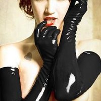 free shipping Sexy Gloves Womens Adult Wet Look Latex PVC Leather Fetish Costume Accessory 2 colors