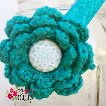 Newborn Baby Headband, Crocheted Flower-Teal /w button Infant Headband, Baby Headband, Baby Girl Headbands,Crocheted Flower Headband