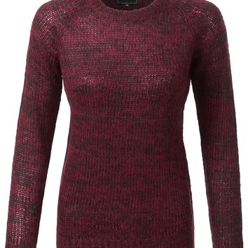 LE3NO Womens Soft Long Sleeve Round Neck Knitted Pullover Sweater