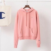 DCCKI2G Champion Women Fashion Velvet Embroidery Hoodie Top Sweater