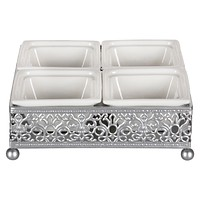 Square Serving Tray with Ceramic Dishes (Silver)