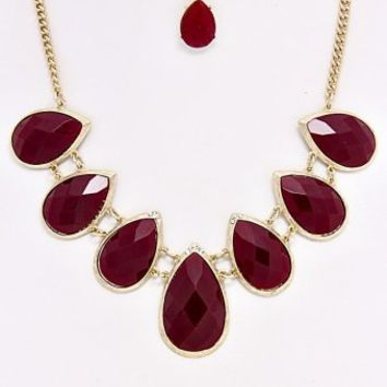 Burgundy-Teadrop-Necklace/Earring-Set