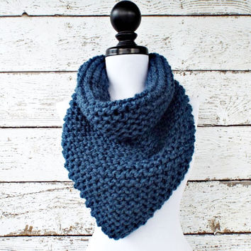 Womens Oversized Bandana Knit Cowl Denim Blue Scarf - Chunky Scarf Womens Accessories Fall Fashion Winter Scarf - READY TO SHIP