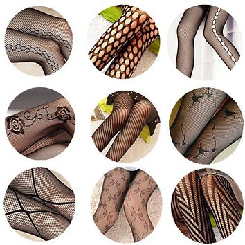 2017 Fashion Sexy Women Girls Core Wire Jacquard Club Panty Knitting Net Thin Pattern Tattoo Fishnet Stockings
