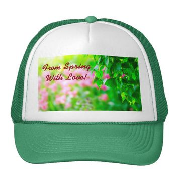 Birch leaves tulip flowers customizable trucker hat