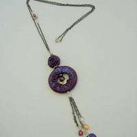 Purple necklace. Necklace made with Purple Polymer clay. Necklace with a little bird. Asymmetric necklace. Large necklace.