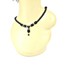Jet Black Glass Bead Dangle Necklace with Rhinestone Rondelles