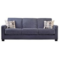 Handy Living Tahoe Convert-a-Couch in Gray Microfiber with Black Geometric Circle Pillows