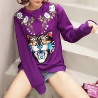 """Gucci"" Women Casual Personality Tiger Head Flower Embroidery Long Sleeve Sweater Tops"