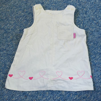 Cream Corduroy Pinafore Dress with Pink Heats - Baby Girls Clothes 9-12 Month