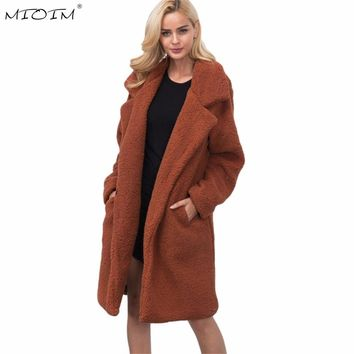 MIOIM 3XL Faux Fur Coat Womens Winter Long Sleeve Wool Blend Ladies Warm Fur Coat Fake Rabbit Fur Jacket Fluffy Trench Outwear
