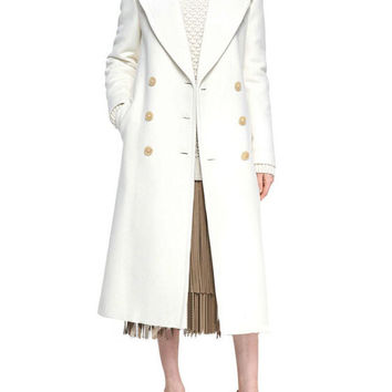 White Notched Collar Double Breasted Wool Midi Coat