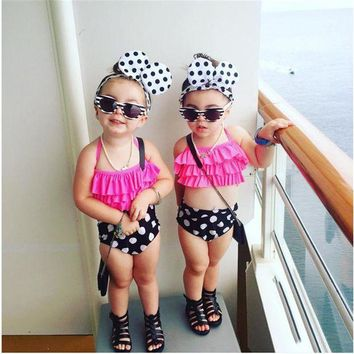 DCCKUH3 Little Girls Two-piece Polka Dots Swimsuit Kids Baby Girl Bikini Suit Swimwear Bathing Swimming Swimmer Costume Clothes