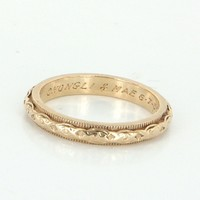 Vintage Embossed Flower Sz 5.25 Wedding Band Ring 14 Karat Yellow Gold Estate