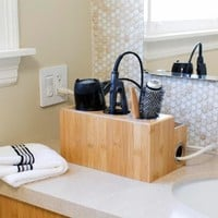 Great Useful Stuff Natural Bamboo Countertop Hair Styling Station