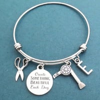Personalized, Letter, Initial, Create SOMETHING BEAUTIFUL Each Day, Hair dryer, Scissors, Silver, Bangle, Bracelet, Gift, Jewelry