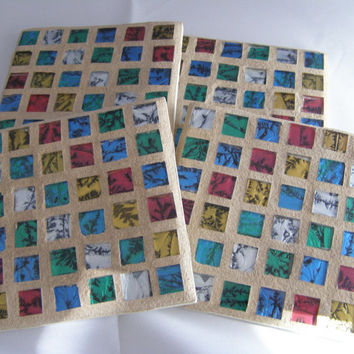 Red, Green, Blue, Gold, Silver Stained Glass Coasters, Housewarming,  Hostess Gift, Home Decor, Mosaic, Unisex gift, Coasters