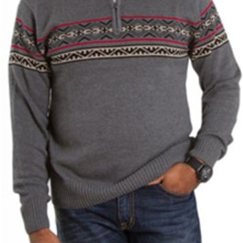 1897 Mens Quarter Zip Print Sweater 1417GL Multiple Colors Available