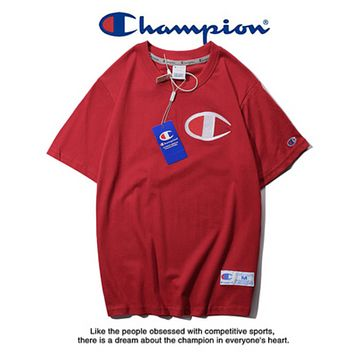 Champion Summer New Fashion Bust Embroidery Logo Leisure Women Men Top T-Shirt Burgundy