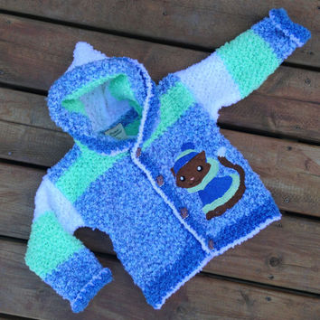 Children's sweater ( Handmade Crochet Children's hoodie with cat embroidery and kitten buttons and Hood ) -  Children's Hoody Size 3