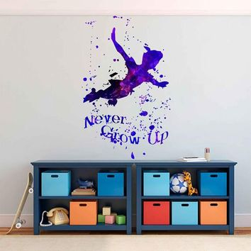 kcik1741 Full Color Wall decal poster space Watercolor paint splashes Peter pen quote fairy tale children's room