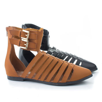 Kingston02H Pointed Toe Gladiator Double Buckle Ankle Flat Sandals