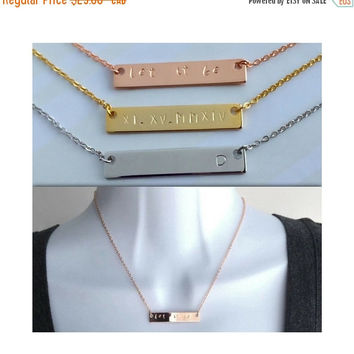 Rose Gold Silver Bar Necklace / Personalized Hand Stamped Necklace / Quote Necklace / Roman Numerals Necklace / Couple Necklace / JFYJewelry