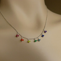 Chakra Necklace, Multi Colored Jade Healing Jewelry, Sterling Silver or Gold, Custom Length