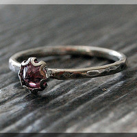 Pink C Z Ring, READY TO SHIP, Size 6.5, October Birthstone Ring, Mini Inverted gemstone ring, Sterling Silver Ring, Pink C Z Stacking Ring