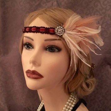 Peach White Brown Orange Braided Velvet Flapper Headpiece Rhinestone Brooch 1920s Art Deco 20s Gatsby Headband Halloween Costume (668)