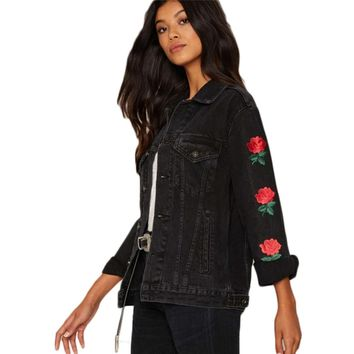 Trio Rose Embroidered Denim Jacket