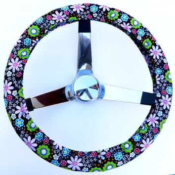 Retro Bright Flowers on Black Handmade Steering Wheel Cover
