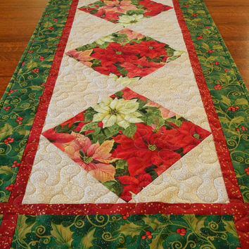 Quilted Christmas Table Runner with Poinsettias and Holly