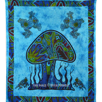 Turquoise Psychedelic Mushroom Frog Print Boho Style Tapestry Wall Hanging Bedding on RoyalFurnish.com