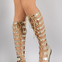 Breckelle Metallic Strappy Lace Up Gladiator Flat Sandal