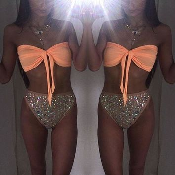 DCCKWQA Women Bikinis 2018 Summer Women Push Up Bow Beachwear Swimwear Sequin Triangle Bra Bikini Set Bathing Swimsuit