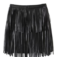 Black High Waist Tassel Faux Leather Pencil Mini Skirt