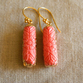 Carved Coral Earrings, Earrings With Coral, Coral Dangles, Salmon Coral Earrings