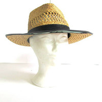 20% OFF STOREWIDE. 60s mens hat. Mens straw Hat. Hat with sun visor