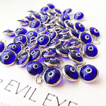 Evil eye charm | blue evil eye beads | glass evil eye charms | evil eye beads connectors | turkish evil eye jewelry | evil eye necklace