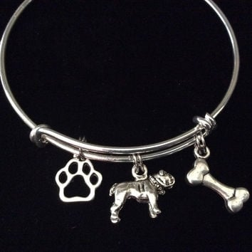 Bull Dog Charm on a Silver Expandable Adjustable Bangle Bracelet Meaningful Dog Lover Gift
