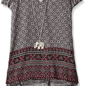 Beautees Big Girls Border Print Hi/Lo Top, Black, Medium