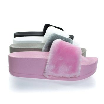 Manisa Pink By Soda, High Platform Faux Marabou Fluffy Fur, Women Open Toe Slip On Slipper Slides