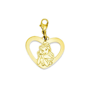 925 Yellow Gold Flashed Silver Disney Belle Heart Charm Pendant - 26 mm