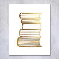 Stack of Books Gold Foil Decor Library Print Reading Study Modern Wall Art Poster 8 inches x 10 inches A19