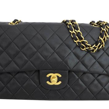 Auth CHANEL CC Logo Matelasse Double Flap Chain Shoulder Bag Black/Gold - e32198