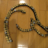 Recycled shotgun shell Duck hunting style 2 man cave wall hanger art