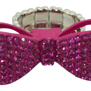 Kawaii Lolita Cute Pink Crystal Bow Fashion Ring